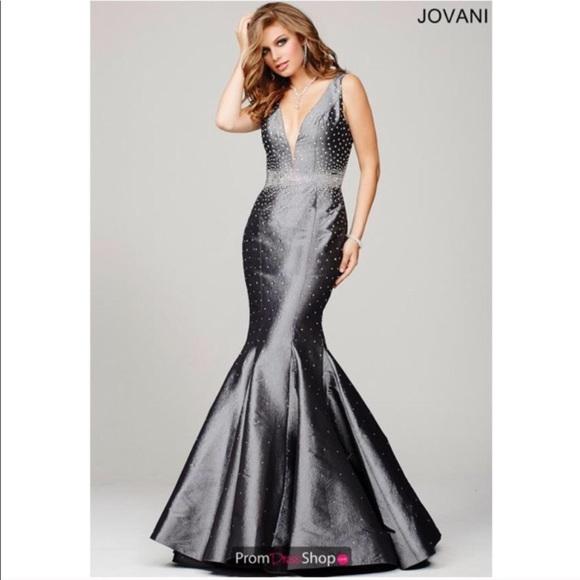 b500d1da45e26 Jovani Dresses | Jeweled Prom Dress In Gray Mermaid Fitted | Poshmark
